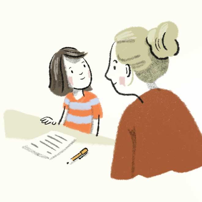 Foto Illustration Kind und Lehrerin empathisch