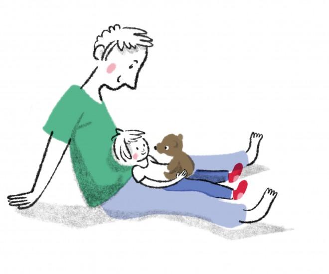 Illustration Vater mit Kind