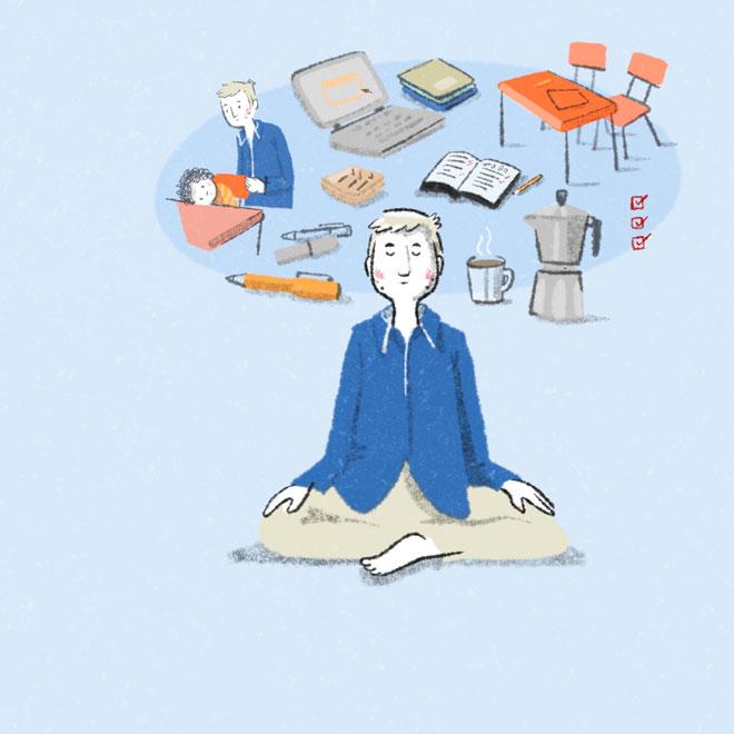 Meditierender mit vielen Gedanken