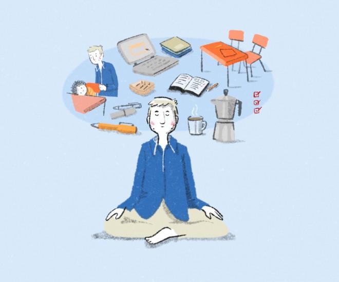 Foto Illustration Meditierender mit Gedankenwolke