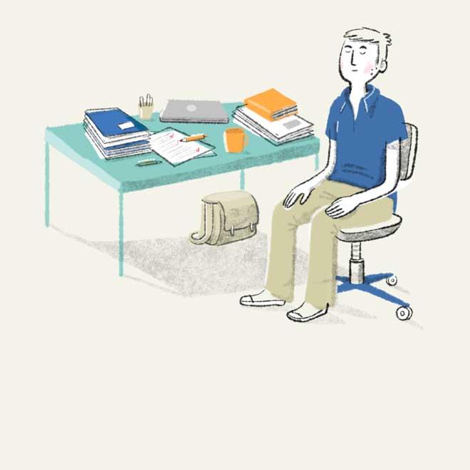 Foto Illustration Meditation am Schreibtisch