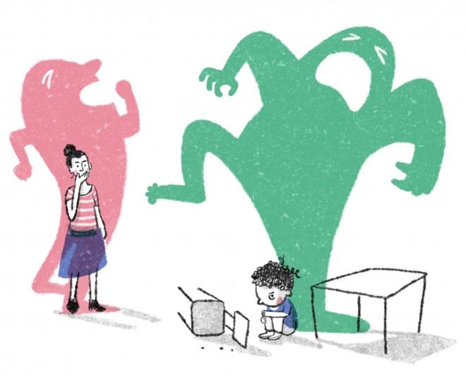 Foto Illustration Wut im Klassenraum
