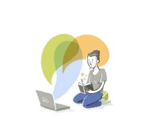 Illustration: Junge Frau am Computer