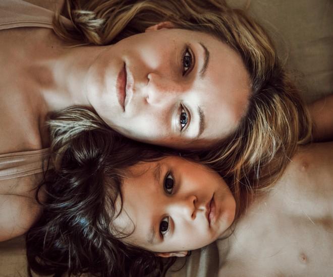 Foto Mutter und Kind Köpfe